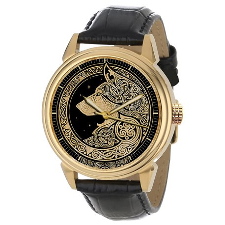 Noble Celtic Wolf Art Solid Brass Wrist Watch Collectible. Golden.