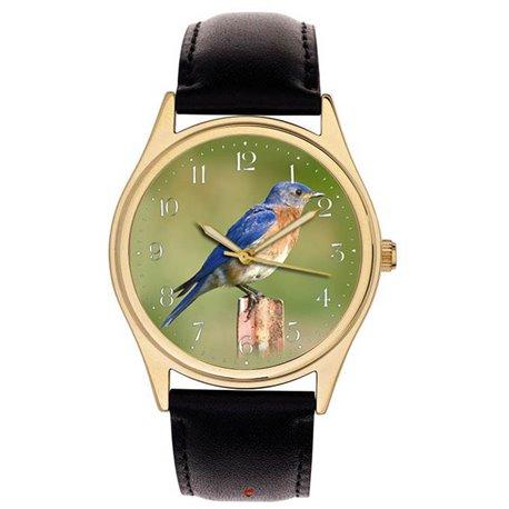 STUNNING ORINTHOLOGY WRIST WATCH BLUE BIRD, ORINTHOLOGIST BIRD WATCHER
