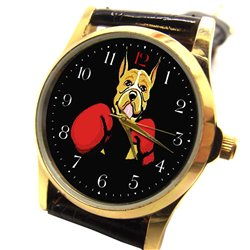 """Boxing"" Boxer Classic Comic Art Dog Lover's Collectible Wrist Watch"