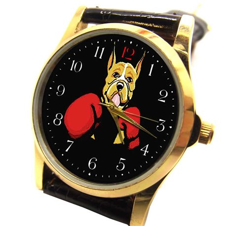 """""""Boxing"""" Boxer Classic Comic Art Dog Lover's Collectible Wrist Watch"""