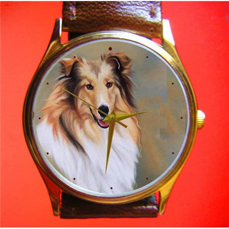 Collie Collies Gents Classic Dog Lover's Portrait Art Wrist Watch