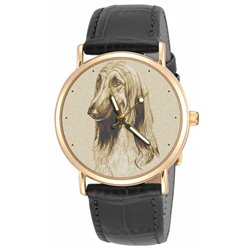 Afghan Hound. Vintage Sepia Dog Lover's Collectible Wrist Watch