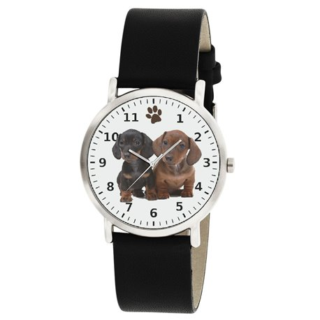BEAUTIFUL DACHSHUND PUPPIES PORTRAIT CLASSIC DOG ART WRIST WATCH FOR ALL AGES