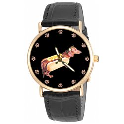 Dachshund, The Sausage Dog, Amusing Solid Brass Collectible Unisex Wrist Watch