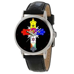 Rosicrucian Rose Cross Symbolic Art Gents Solid Brass Collectible Wrist Watch