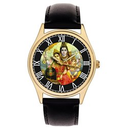 Lord Shiva, Parvati and Bal Ganesh. Hinduism Collectible Wrist Watch