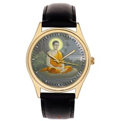 The Young Buddha Meditating. Rare Artwork. Classical Buddhism Wrist Watch