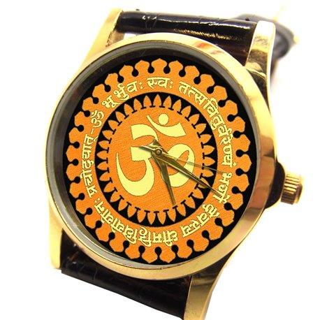 "Saffron Hinduism ""OM"" with Gayatri Mantra. Rare Artwork. Hinduism Wrist Watch"