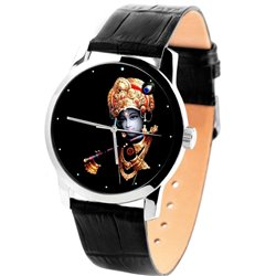 Sri Krishna Krsna Hinduism Religious Art Large 40 mm Size Solid Brass Wrist Watch