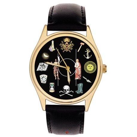"""Masonic Wrist Watch. Large Symbolic """"Two Saint Johns"""" Freemasonry Gents Wrist Watch"""