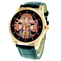Colorful Lord Ganesha Hinduism Kitsch Religious Art Solid Brass Wrist Watch