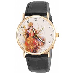 Maa Durga Hinduism Religious Art 30 mm Unisex Solid Brass Wrist Watch