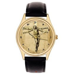 The Crucifixion of Christ. Michaelangelo v/s Leonardo Da Vinci Vitruvian Man Wrist Watch