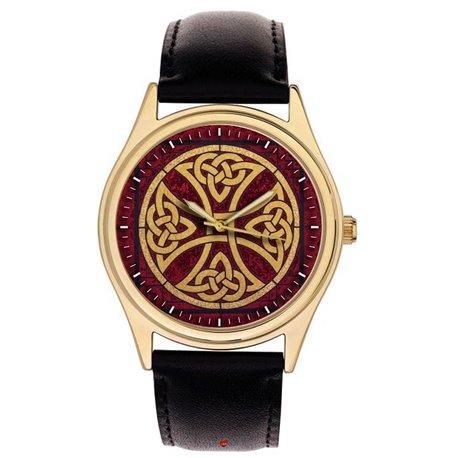 Knight Templar Symbolic Crimson Celtic Cross Art 40 mm Collectible Wrist Watch