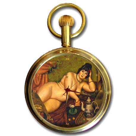 VINTAGE BBW FAT-BOTTOMED GIRL Art Collectible Swiss Pocket Watch