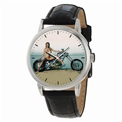 SEXY CHOPPER BABE MOTORCYCLE ART COLLECTIBLE LARGE FORMAT WRIST WATCH