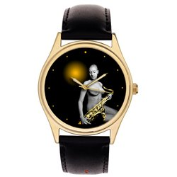Erotic Saxophone Sax Art Collectible 40 mm Wrist Watch
