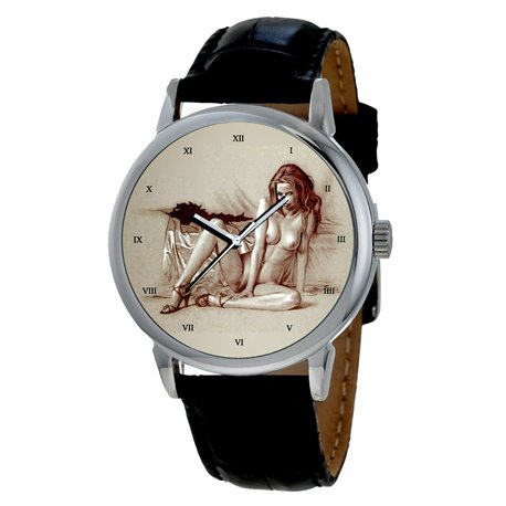"""Vintage American Erotic Art """"Pouty Lips"""" Collectible 40 mm Solid Brass Wrist Watch"""