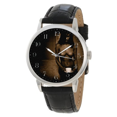 EROTIC COFFEE DRINKER NUDE MET ART WRIST WATCH
