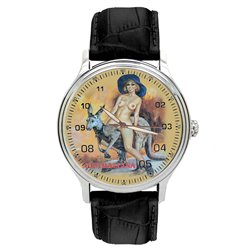 Vintage Australian Nude Pinup Art. Girl on Kangaroo Erotic Wrist Watch