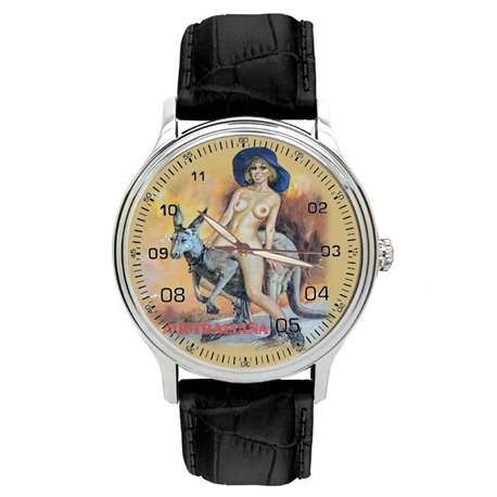 Vintage Australian Nude Pinup Art. Girl on Kangaroo Erotic Wrist Watch