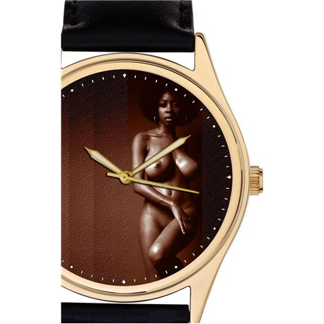 CHOCO NUDE EBONY BLACK EROTIC ART WRIST WATCH