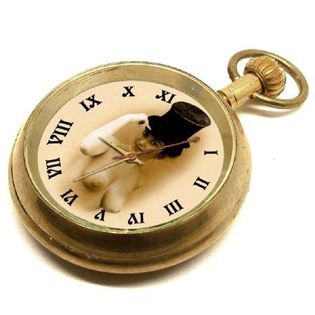 Vintage Mimi Erotic 17 Jewels Pocket Watch