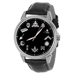 Masonic Symbols Classic Black and White Dial Freemasonry Solid Brass Wrist Watch