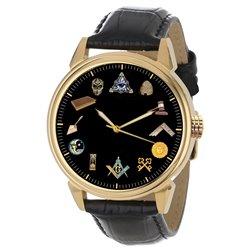 Beautiful Masonic Symbols Classic Freemasonry Collectible Solid Brass Wrist Watch