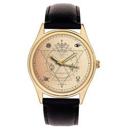 Classic Illuminati Freemasonry Geometry Symbolic Solid Brass Wrist Watch