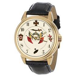 Symbolic Ancient Masonic Art Freemasonry Solid Brass Wrist Watch