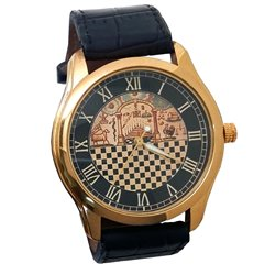 Temple of Solomon Chequered Dial Gents Luxury Wrist Watch