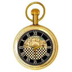 Masonic Pocket Watch. Temple of Solomon Chequered Dial Swiss 17 Jewels Classic