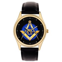 Sapphire Blue Art Masonic Symbolism Freemasonry Divider & Scale Collectible Gold-Washed Wrist Watch