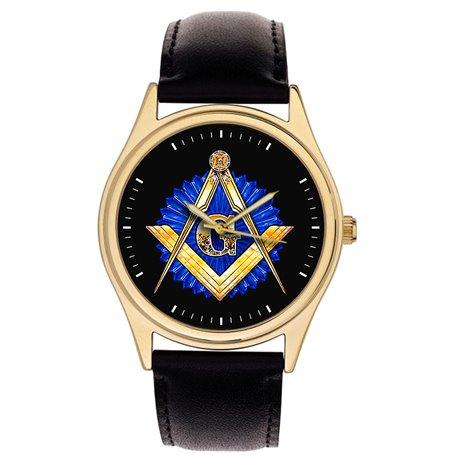 Sapphire Blue Art Masonic Symbolism Freemasonry Divider & Scale Collectible Gold-Washed Wrist Watch