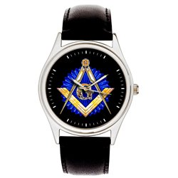 Classic Sapphire Blue Masonic Symbolism Freemasonry Divider & Scale Wrist Watch. Silver Tone.