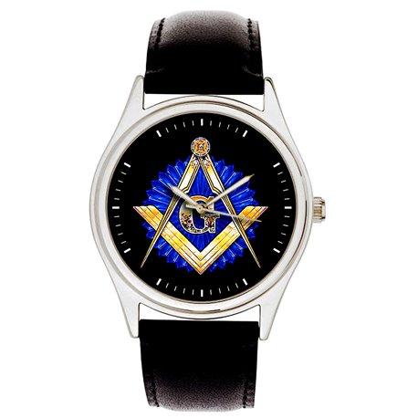 Classic Sapphire Blue Masonic Symbolism Freemasonry Divider & Scale 40 mm Wrist Watch
