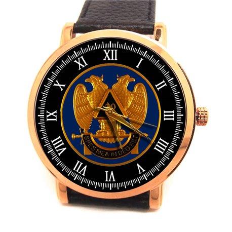Freemasonry Symbolism Masonic All-Seeing Eye Parchment Art 40 mm Gold-Washed Collectible Wrist Watch