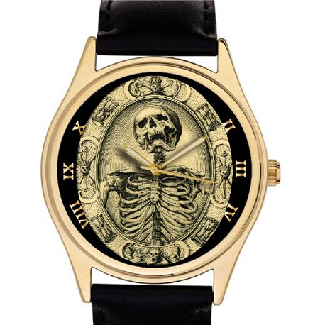 FREEMASONRY SKULL ART MASONIC SYMBOLISM HUGE 42 mm COLLECTOR'S WRIST WATCH