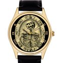 Tempus Fugit Symbolic Skull Art Masonic Freemasonry 40 mm Gold-Washed Collectible Wrist Watch