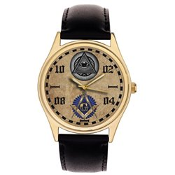 Freemasonry Symbolism Masonic All-Seeing Eye Parchment Art 40 mm Gold-Washed Collectible Wrist Watch
