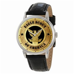 BOY SCOUTS - Vintage Woodcut Art EAGLE SCOUT Boys Wrist Watch
