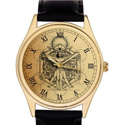 Symbolic Freemasonry / Masonic Cosmology Geometry Vitruvian Art Collectible Wrist Watch