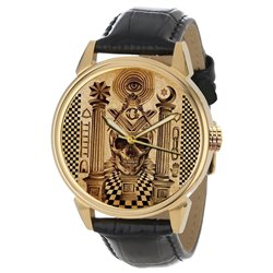 Ancient Masonic Symbolic Skull Art Freemasonry Solid Brass Wrist Watch