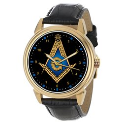 Ancient Sapphire Blue Art Masonic Symbolism Freemasonry Solid Brass Wrist Watch