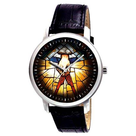 Vintage Stained Glass Art Symbolic Vintage Freemasonry Art Collectible Wrist Watch