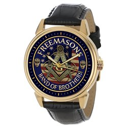 Band of brothers Freemasonry Divider & Scale Collectible Gold-Washed Wrist Watch