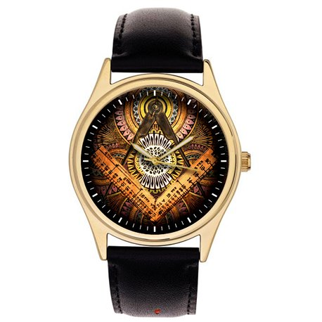 Colorful Ancient Symbolic Vintage Freemasonry Art Collectible Wrist Watch