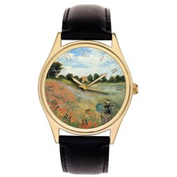Claude Monet Poppy Field Impressionist Art Stunning Solid Brass Wrist Watch 40mm