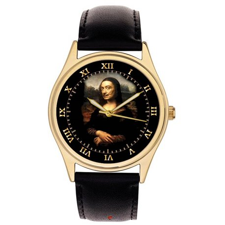SALVADOR DALI AS THE MONA LISA SURREAL SELF-PORTRAIT ART MASTERPIECE WRIST WATCH